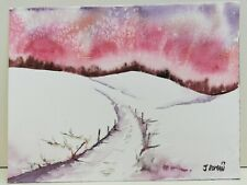 Winter snow scene Red sky winding track painting Original watercolour painting