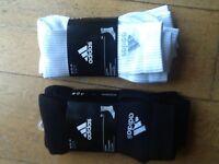 Adidas 3 pairs cotton crew cushioned sport socks white or black 5-8 8-11