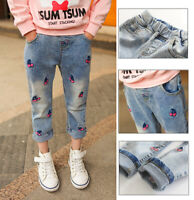 Toddler Baby Girls Denim Long Pants Clothing Print Kids Girl Jeans Trousers