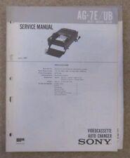 Sony AG-7E/UB video tape changer service manual original copy