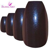 False Nails Blue Purple Chameleon Ballerina Coffin Bling Art 24 Tips 2g Glue