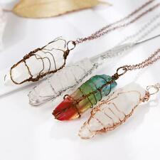 Women Natural Crystal Wire Wrap Rainbow Crystal Quartz Pendant Jewelry P7J8