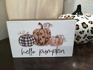 "Thanksgiving HELLO PUMPKIN Leopard Print Plaid Tabletop Sign Decor 6"" x 3 5/8"""
