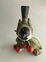 """Vintage Ceramic Figurine Bird on Cherry Branch  6"""" Tall 4"""" Wide"""