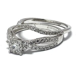 925 Sterling Silver 0.75ct Round Cut Signity Star CZ Halo Set of 2 Rings