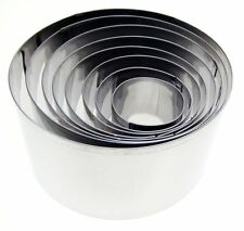 EDDINGTONS SET OF 8 X DEEP ROUND PASTRY BISCUIT COOKIE CUTTER STAINLESS STEEL