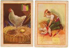 Colección completa de 2 cromos fábula La Gallina de los Huevos de Oro 7,5 x 10,5