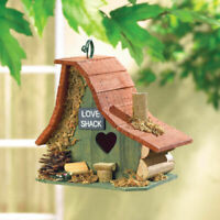 Birdhouse Rustic Love Shack Wood Cabin Bird House with Clean Out Access