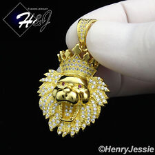 925 STERLING SILVER LAB DIAMOND ICED SMALL LION HEAD CROWN GOLD PENDANT*SGP122