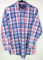 Vineyard Vines Women's Size M Blue White Red Plaid Long Sleeve Button Up Shirt