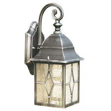 Searchlight 1642 GENOA Cast Aluminium Black/Silver Lantern/Lead Glass Wall Light