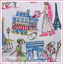 BonEful Fabric FQ Cotton Quilt French Paris Eiffel S Tower Lady Poodle Dog Retro