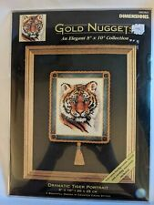 Vintage Dimensions Gold Nuggets Tiger Portrait Counted Cross Stitch Kit 8x10