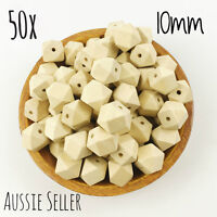 50x natural wood 10mm hexagon beads BULK geometric sensory necklace teething raw