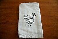 Towel Kitchen Dish Tea Flour Sack Primitive Farmhouse Rooster Embroidery Cotton