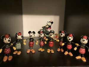 rare 1930s mickey minnie mouse wood fun e flex figures 8 lot antique early