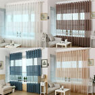 Elegant Sheer Curtain Window Curtains Stipe eyelet Voile Drape Panel Scarf