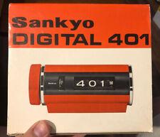 Vintage Orange Sankyo Digital Alarm model 401 MCM flip *RARE* W/ Box