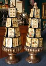 FABULOUS MID-CENTURY ITALIAN GILDED TOPIARY PAIR MADE FROM ANTIQUE TAROT CARDS
