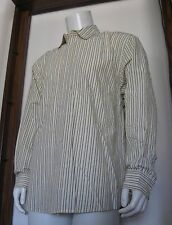 L Men Old Navy Long Sleeve Button Shirt Yellow Black White Stripe Cotton EUC