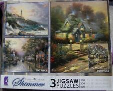 Ceaco Thomas Kinkade Shimmer 3 in 1 Box Puzzles 100, 300 & 500 piece puzzles