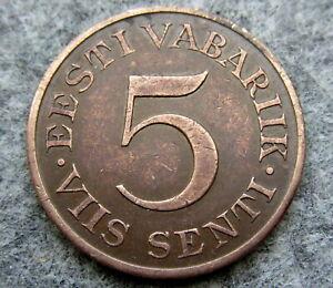ESTONIA 1931 5 SENTI, ONE YEAR TYPE