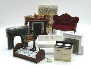 A Lot of Dolls House Items, Fire Surrounds, Sofa, Chair, Stove, Mangle (AP138T)