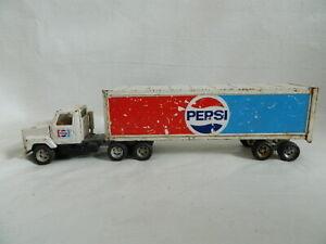 """Vintage ERTL Metal Toy Pepsi 20"""" Pressed Steel Semi-Truck"""