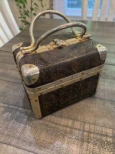 vintage lisette handbag lunch box Snakeskin W/ gold trim