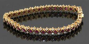 Heavy 18K gold 6.48CTW VS diamond & ruby cluster fancy link bracelet
