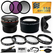 15PC Macro + Fisheye + Telephoto + Filters for 55mm Sony A700 A850 A900 HX300