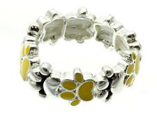 Paw Print Ring Stretch Band Multi-color Orange Red Yellow Enamel Silver
