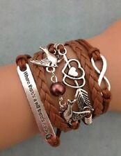 Bracelet  marron couple d'oiseaux avec perle coeur fleche et citation