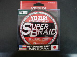 YO-ZURI SUPERBRAID Dark Green Fishing Line 30lb 300yd R1267-DG Super Braid