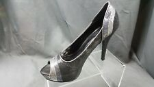 Worthington Sequin 3 tone Black Silver Purple Peep Toe Stilettos Women's US 8.5M
