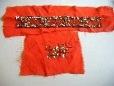 Handmade Antique Vintage Beadwork Applique Panel Embellishment Pieces ~ Orange