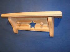 "rustic country pine wooden shelf 12"" with star and pegs, unfinished wall shelf"