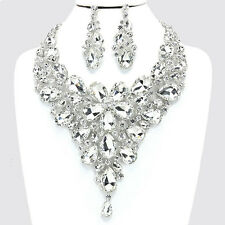 Silver and Crystal Rhinestone Flower Drop Necklace Set