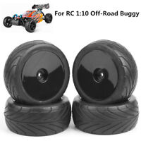 4Pcs Front&Rear 1:10 Buggy Tires&Wheel Rim 12mm Hex For RC Off-Road Car Tyres