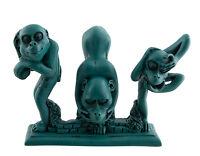 Estatua 3 Monos de La Sabiduría De Resina Dibujos Attitude Turquesa Oferta 5131