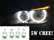 4 X Canbus cree 501 Bombillas Led Xenon Blanco Halo Anillos Angel Eyes Bmw E60 E61 03-0