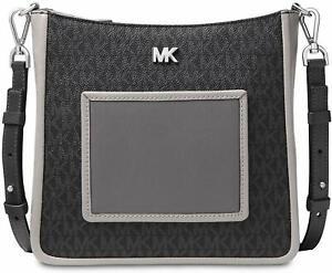 Michael Kors Womens Gloria Pocket Swing Pack Crossbody (Black/Pearl Grey)