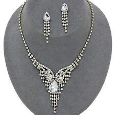 Clear Gold Crystal Rhinestone Necklace Set Teardrop Prom Wedding Formal