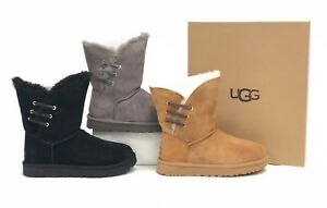 Ugg Australia Constantine Black Chestnut Charcoal Lace Trim Sheepskin 1018629