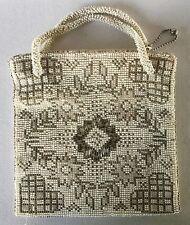 Antique CZECH Glass Seed Beaded PURSE Handbag Vintage w/ Handles Hearts Flower