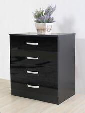 Gladini High Gloss 4 Drawer Chest - Black