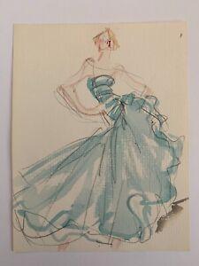 Joe Eula watercolor illustration for Halston 1970s (original)