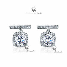 18k gold gp made with SWAROVSKI crystal round cut stud earrings 925 silver post