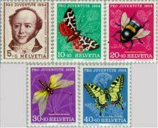 EBS Switzerland Helvetia 1953 Pro Juventute Gotthelf & Insects 602-606 MNH**