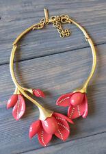 Oscar De La Renta Coral Color Magnolia flower  necklace signed